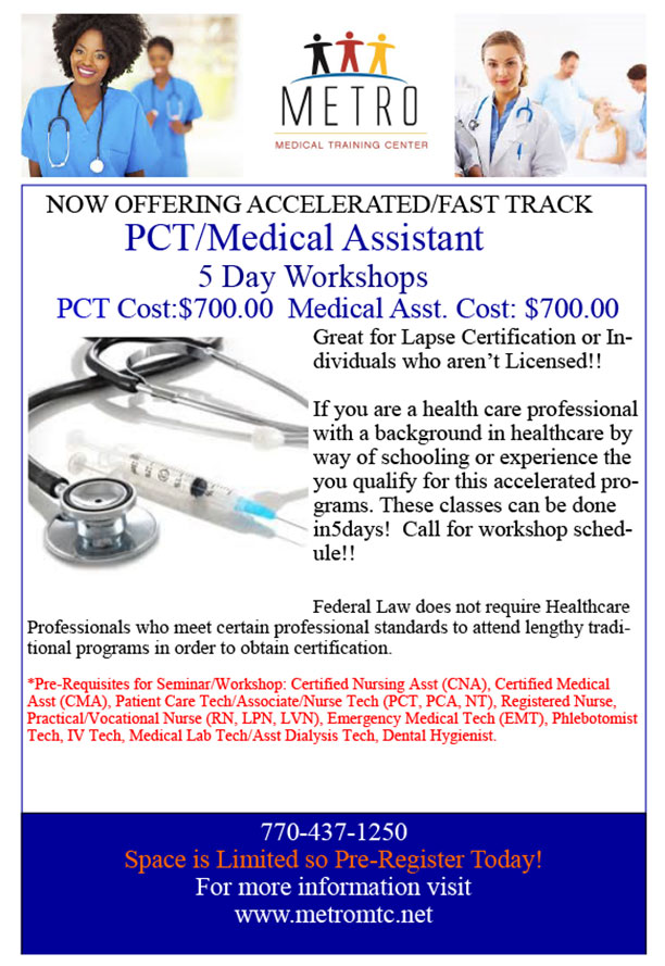 5 Day Medical Assistant Metro Medical Training Centermetro Medical