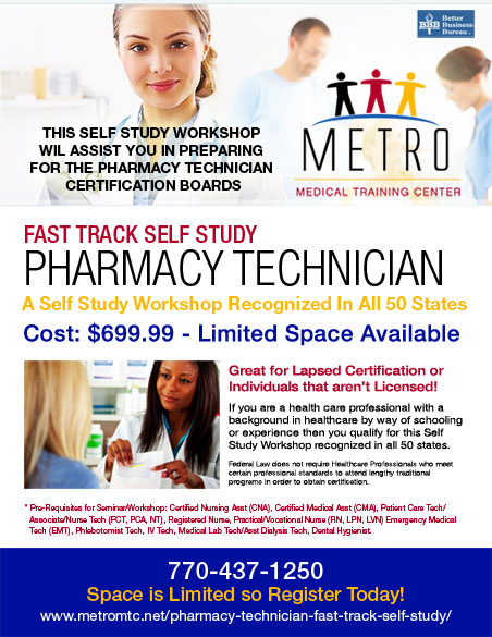 Pharmacy Tech Fast Track Self Study - Metro Medical Training ...