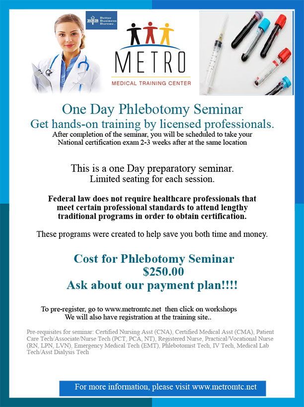 One Day Phlebotomy Metro Medical Training Centermetro Medical